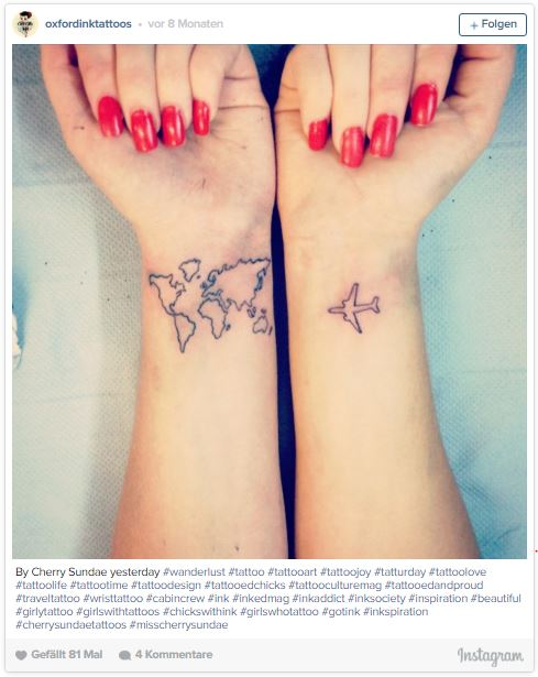 Airplane and map travel tattoo