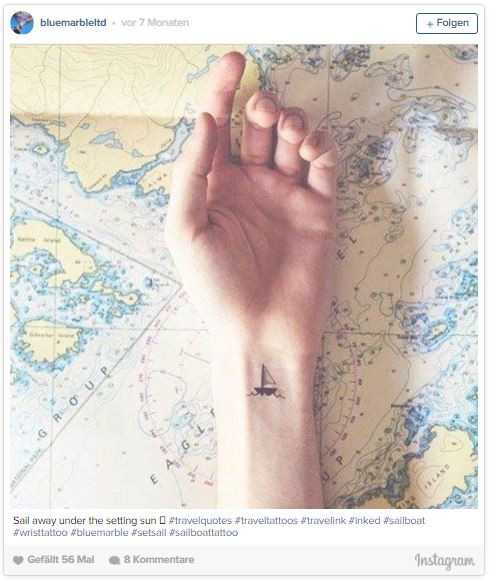 Travel tattoo of a small boat on a map