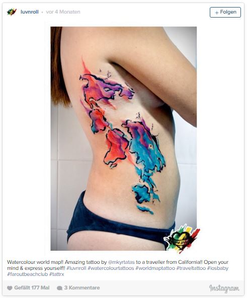 Tattoo of a world map in colors